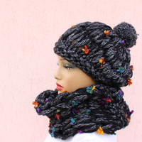 Black Gray Cowl Scarf Knitted Chunky Loop Scarf SCARf and Beanie Set  EXPRESS SHIPPING