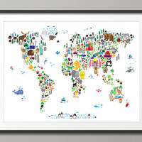 Animal Map of the World Map for children and kids, Art Print, 18x24 inch (61)