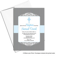 Baptism invitations boy printable or printed cards | blue and gray Christening invitation for baby boy - WLP00203