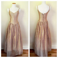 Vintage 1980's  Dress / Corset Tan Gown / Dress with Cremlin Slip/ Size 6