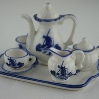 Delft Blue Fine China Miniature Porcelain Tea Set with Serving Tray
