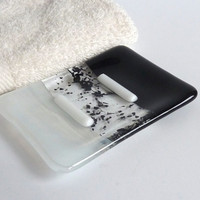 Fused Glass Soap Dish in Black and Streaky White