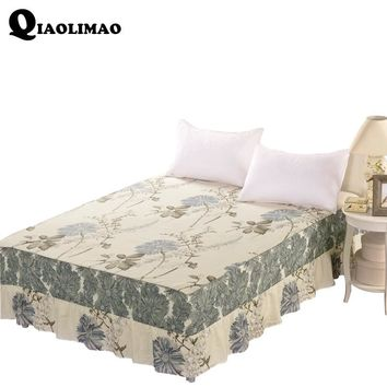 Printed Cotton African Lace Fabric Luxury Pink Red Blue Flower Edge Wedding Decoration Bed Skirt For King Queen Size Bedding Set