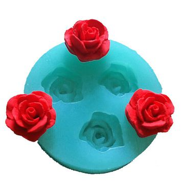 Rose flower shape fondant silicone mold kitchen baking chocolate pastry candy Clay making cupcake lace decoration tools FT-0157