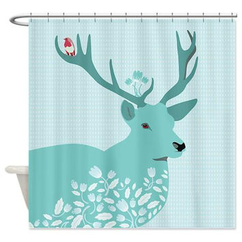 Mint Shower Curtain - Blue Deer - Ornaart Design