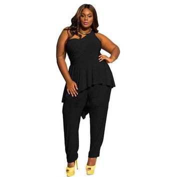Plus size Women jumpsuits 2018 sexy one shoulder backless Ruffle rompers club party black slim long pant bodycon outfit overalls