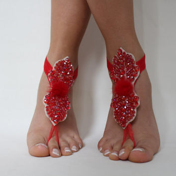 Beach Wedding Barefoot Sandals Wedding Lace shoes,Red Lace Sandals,Beach Wedding,Bridal Barefoot Sandals,Party ,Prom,Accessories