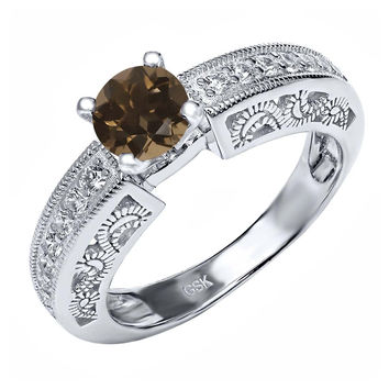 1.39 Ct Round Brown Smoky Quartz 925 Sterling Silver Ring
