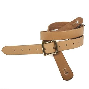 """The Guthrie 1"""" Wide Guitar Strap in Natural Bridle Leather"""