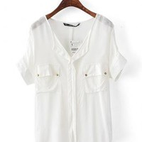Dual Port V Neck Bat Chiffon Shirt White