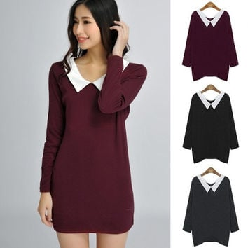 Women BabyDoll Dress Hoodies Doll Collar Long Sleeve Socialite Plus Size WT 7_S