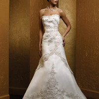 A-Line Chapel Train Best Beach Wedding Dresses Dignified Satin Embroidery Strapless [ALN-200495] - AUD $278.72 :
