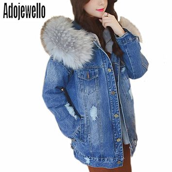 Women Winter Warm Boyfriend Hooded Denim Jackets with Fur Collars