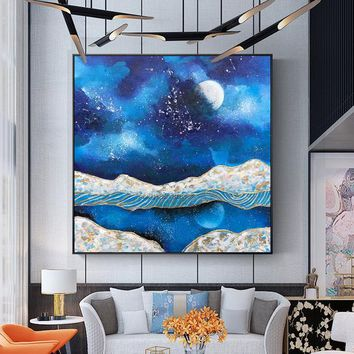 Original Moon and lake arcylic painting on canvas Gold leaf nordic extra Large navy blue abstract Wall Art Picture Decor caudros abstractos