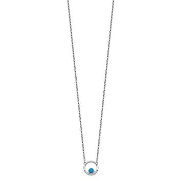 "Sterling Silver Created Opal Circle 16"" With 2in Ext. Necklace"