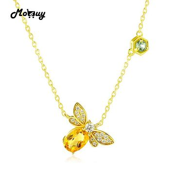 Women 925 Sterling Silver 14 K Yellow Gold Bee And Charm Necklace