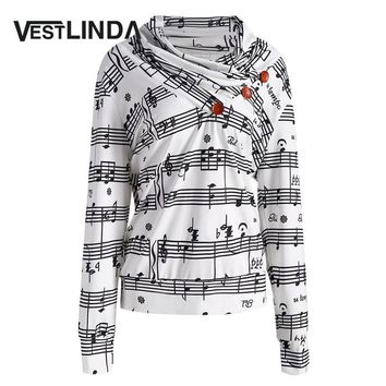 VESTLINDA Sweatshirt Pullover Musical Notes Print Cowl Neck Sweatshirts 2017 Fashion Women Autumn Long Sleeve Casual White Tops