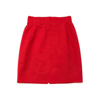MERIVALE!!! Vintage 1990s 'Merivale' red twill, high waisted pencil skirt with darts and back hem split
