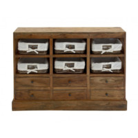 Reclaimed Wood Farmhouse 6-Drawer Chest with Baskets
