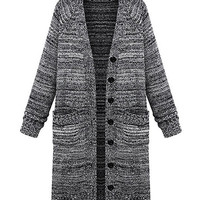 Long Sleeve V-Neck Buttoned Knitted Cardigan