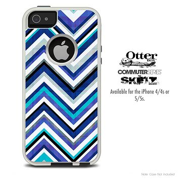 The Vibrant Blue Sharp Chevron Skin For The iPhone 4-4s or 5-5s Otterbox Commuter Case