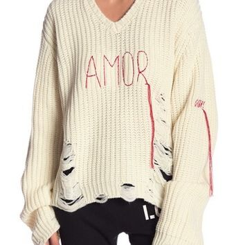 Peace Love World | Graziella Amor Distressed Knit Sweater | Nordstrom Rack
