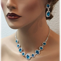 Wedding jewelry set, Teal blue necklace and earrings, vintage inspired blue rhinestone necklace statement, crystal jewelry set