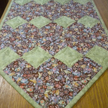 Quilted Table Runner, Green Brown table runner, quilted table topper, floral home decor, woodland quilted runner, paisley patchwork runner