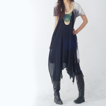 Mountain Water - beads neckline layered tunic dress (Q1205)