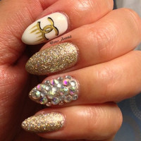 Gold Designer Inspired Stiletto Press-On Nails with Real Swarovski Crystals