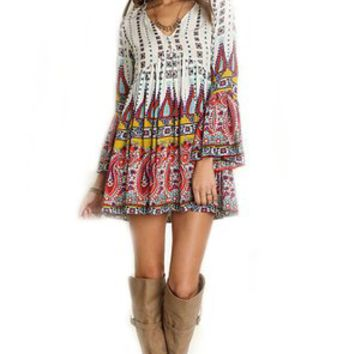Umgee Women V Neck Print Peasant Boho Dress Top