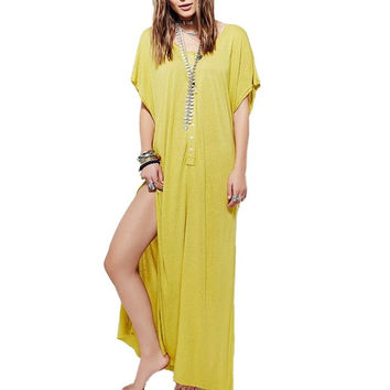 Women's Yellow BOHO Loose Fitting Front Button Maxi Summer Short Sleeve Dress