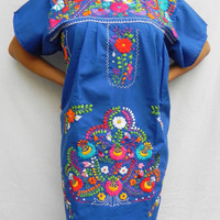 Mexican Mini Dress Beautiful Blue Colorful Fantastic Collection Tunic Embroidered Handmade  Medium