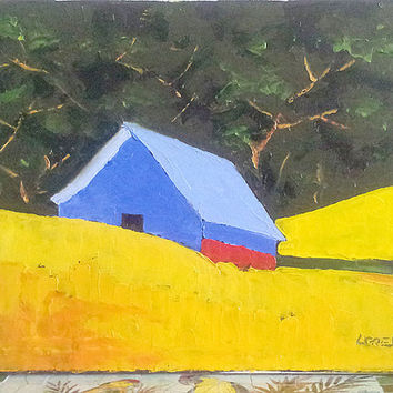 CALIFORNIA Plein Air FARM BARN Summer Meadow Field Landscape Art 16x20 Free Shipping Lynne French