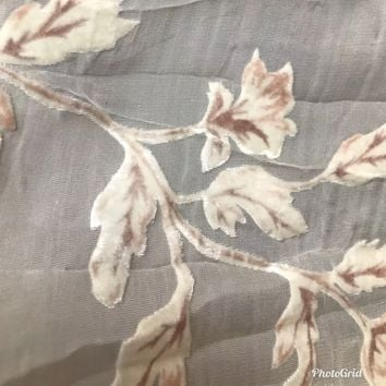 "Designer Burnout Silk Rayon Velvet White Roses - 45"" Wide- Sold By The Yard"