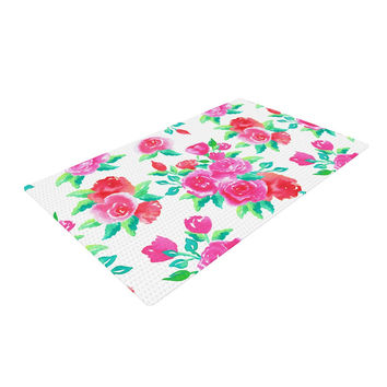 "Anneline Sophia ""Pink Roses"" Magenta Floral Woven Area Rug"