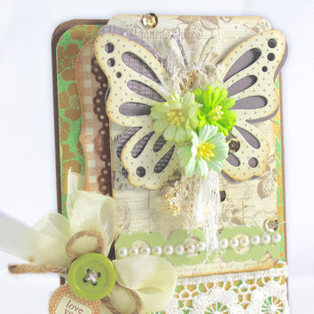 Mother's day Handmade card, Love you card, Greeting card,  Love you, Grandma, Step-Mom, Any Occasion, Green Handmade, Shabby Chic