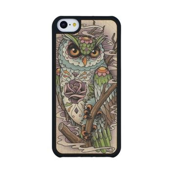 Sugar Skull Owl Carved® Maple iPhone 5C Slim Case