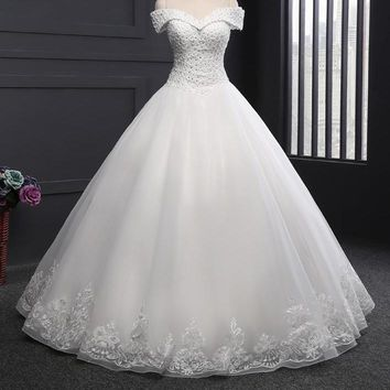 A Line Wedding Dress Off Shoulder Beaded Sequin Country Western Style Wedding Gown