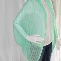 Knitted Mint Cocoon Cardigan/ Lightweight Knit Wrap/ Long Cocoon Jacket/ Batwing Sleeve Cardigan/ Oversized Kimono Shrug