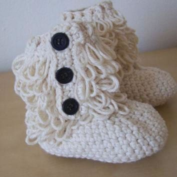 ICIK8X2 baby girl crochet ugg inspired furry booties winter clothing accessory button boots