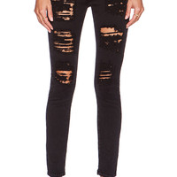 Acquaverde Scarlett Raw Hem Skinny in Black Super Destroy