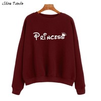 Women Shirts Princess Letter Printing Sweatshirts Long Sleeve Pullovers Solid Cotton Hoodies Ropa Mujer #1125