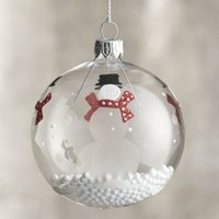 Snowman with Snowball Clear Ornament