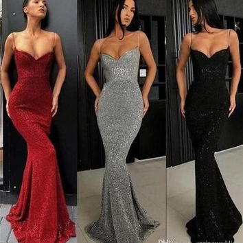 2019 Sexy Dark Gray Prom Dresses Full Sequins Spaghetti Straps Mermaid Long Evening Gowns Women Cheap Party Dress FS8211