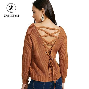 ZAN.STYLE Sexy sweater with open back V neck Lace up Knitted women sweaters and pullovers Full sleeve Batwing Sleeve sweaters