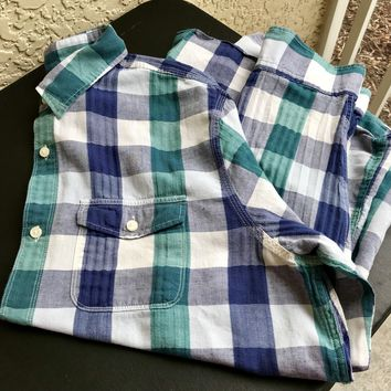 Men's Gap Gingham Button Down Shirt, Size Large