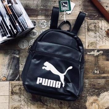 PUMA Women Casual School Bag Cowhide Leather Backpack