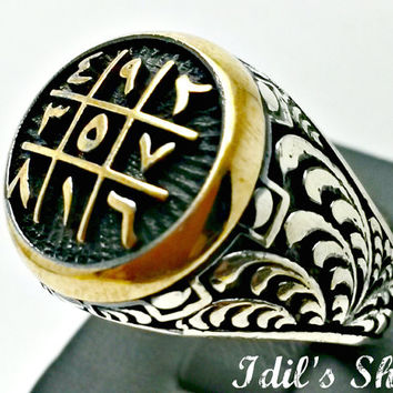 Men's Ring, Turkish Ottoman Style Jewelry, 925 Sterling Silver, Authentic Gift, Traditional Handmade, With Engraved Abjad, US Size 12, New