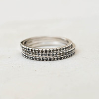 Eternity Ring Set - Silver with Black